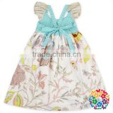 Cute Animal Printing Skirt Baby Girls Ruffle Pocket Dress 100% Cotton Birthday Little Girls Dresses