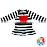 Black White Stripe Patterns Baby Girls Valentine Shirts Children Cotton Valentines Day Long Sleeve Shirt With Embroidery Heart