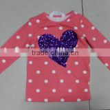 Yiwu stocks lots girl's most popular long sleeve pink t-shirt
