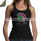 Latest Fashion AKA Afro Girl Rhinestone Transfer Motif On Cotton Black Fabric Tank Top Clothes