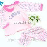 Hot Sale Kids Winter Pajama Set Baby Pink Knitted Long Sleeve Girls Pajama 100% Cotton With Good Quality BG1-393