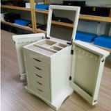 Wooden Jewelry Box with Wash White finish, Canvas Inside Lining, Sliding Drawers, Hidden Mirror, Hooks for Necklaces