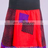 Bohemian Ruby Red Striped Black Cotton Patchwork Mini Skirt HHCS 109 B