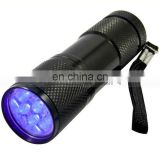 Alloy Metal AAA Battery 100lm Waterproof Hunt Sport 9 UV LED Torch