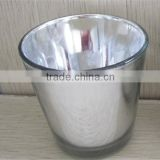 Hand made glass mug shaped silver candle holder