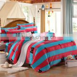China thick high quality red stripe flannel king size comforter sets cat print bedding set