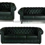 Replica European style genuine leather 1/2/3 seater Chesterfield sofa ,black color chesterfield sofa , chesterfield sofa set