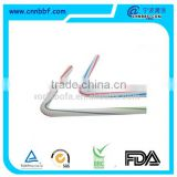 Two colors stripes plastic flexible straws