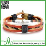 Women Men's Alloy Genuine Leather Bracelet Bangle Rope Orange Gold Black Braided Cuff Bracelet Vintage
