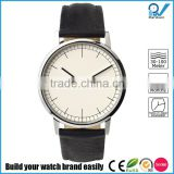 3161L stainless steel case slim fashionable mens wrist watch sapphire glass with genuine leather strap watch
