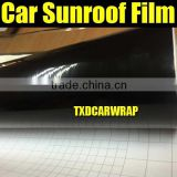 1.52*15M/Roll High glossy black self-adhesive panoramic car sunroof wrap film with air bubbles