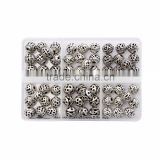 Top Quality 8mm Assorted Round Hollow Tibetan Silver Metal Spacer Beads Mix Lot 60pcs per Box For Jewelry Making Findings