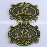 Antique plated steel door sign