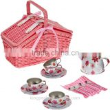 2015 New Product Picnic Basket Play Tea Set with 18 pieces/Children Pretend Tea Set/Kids Toy /Best Christmas Gifts for Kids