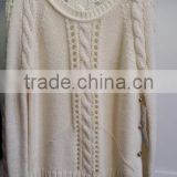 regular hole designed cable knitting pattern pullover, sweater with metal buttons at side seams