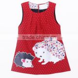 Sweet child fall sleeveless cute animal pattern flannelette vest dress children clothing