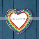 Rainbow color heart shape wall mosaic decorative bathroorm mirror
