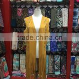 2015 New fashion suede shawls and ponchos with fringe leather scarves in Yiwu