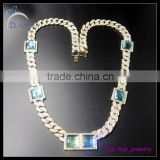 Mens Hip Hop Ruby Blue Square Gem Stone Necklace for men jewelry