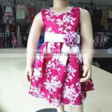 girls boutique clothing floral print dresses with belt Party Dresses for Girls