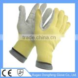 China Wholesale Seamless Knitted Aramid Cow Leather Coated Heat Resistant Work Gloves For Safety Keep