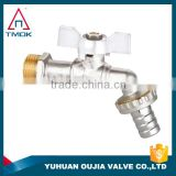 tmok 2-way brass bibcock with butterfly handle for water and gas male thread connection in OUJIA VALVE FACTORY