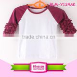 Triple ruffle raglan 3/4 sleeve shirts bulk wholesale kids boutique clothing girls tops tshirts