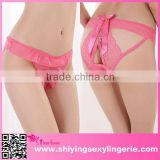 Big Stock Wholesale Watermelon Red Peek-a-boo Cutout Sheer Lace Panty Woman's Underwear