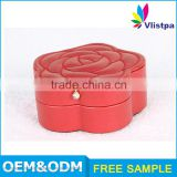 High-standard custom Red packaging box pvc leather jewelry box