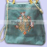 PP laminated jute hand bag with silky cord handle