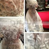 stunning beaded lace evening dresses with feather /white beaded lace fabric/beaded tulle fabric