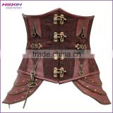 Brown Retro Gothic Steampunk Brocade Boned Big Women Corset Heavy Steel Chain Bustier TOP Underbust Corset                                                                         Quality Choice