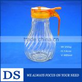 485ml high quality wholesale transparent glass soy sauce bottle with plastic cap