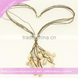 Natural Beach Cowrie Shell Layered Leather Necklaces