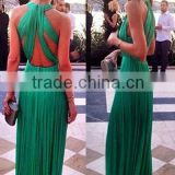 Green Back Prom Sleeveless Maxi Out Dress LC60134