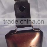 "2.75"" antique cow bell with strap lanyard A2-179 with embossed cow on the bell (A166)"
