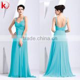 Hot lady sexy pictur long bridesmaid dress sleeveless sexy backless ruffle fashion sky blue summer chiffon evening dress