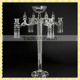 Handmade Exquisite Tall 5 Branch Crystal Bowl Candelabra For Wedding Party Table Centerpiece Decoration