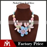 2016 Hot selling colorful beads shell pendnat necklace with flower collar jewelry