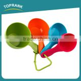 Toprank Custom 5 Pcs Mixing Color Plastic Measuring SpoonSet 1Cup 1/2Cup 1/3Cup 1/4Cup Food Measuring Spoons For Baking