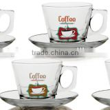 4oz 6oz glass Caffe Latte mug set with saucer glass tea cup set