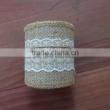 3''*3y burlap ribbon with lace 100% natural jute
