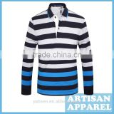bright color stripe soft polo shirt for man good quality long sleeve Men tailored casual polo shirt with OEM