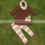 2-7t FALL/Winter children kids OUTFITS 3 pieces scarf pant sets turkey stripe girls boutique clothes kids top sets