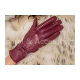 Basic Fashion Multi Color Custom Girls Leather Gloves with Nice Bow Wine Red / Black / Brown