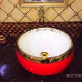 Sanitay rware Bathroom Art Basin India style Design Red round golden luxury no hole Color Wash Basin sink