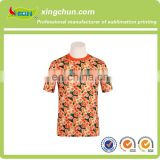 2015 Flower series reserved 100% polyester wholesale Customize heat transfer printing t-shirts