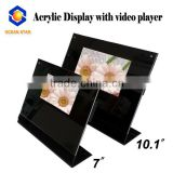 "7""/10.1"" desk video player desktop acrylic video display stand for advertising"