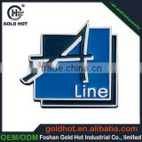 zinc alloy metal thin word projected nameplate trademark label sticker for logo display