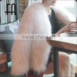 Factory direct wholesale short syle baby pink white raccoon fur knitted jacket